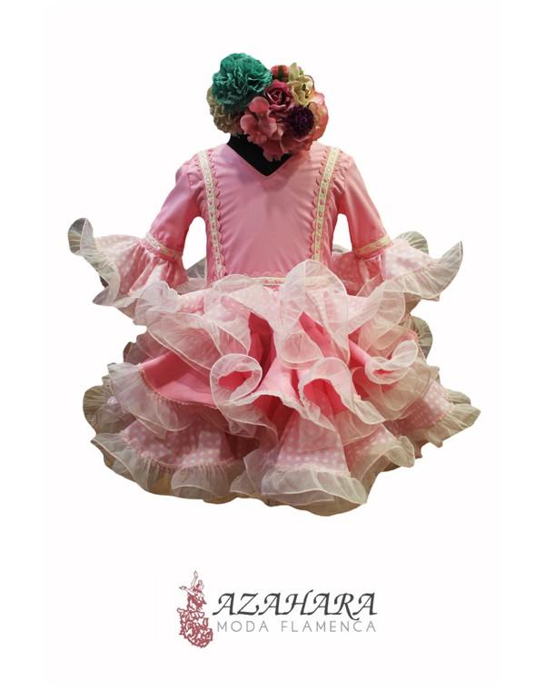 Trajes de flamenca de niña en rosa.